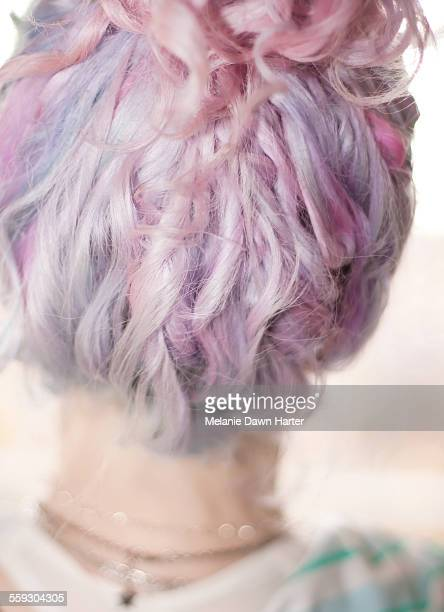 Lavender and pink curly hair