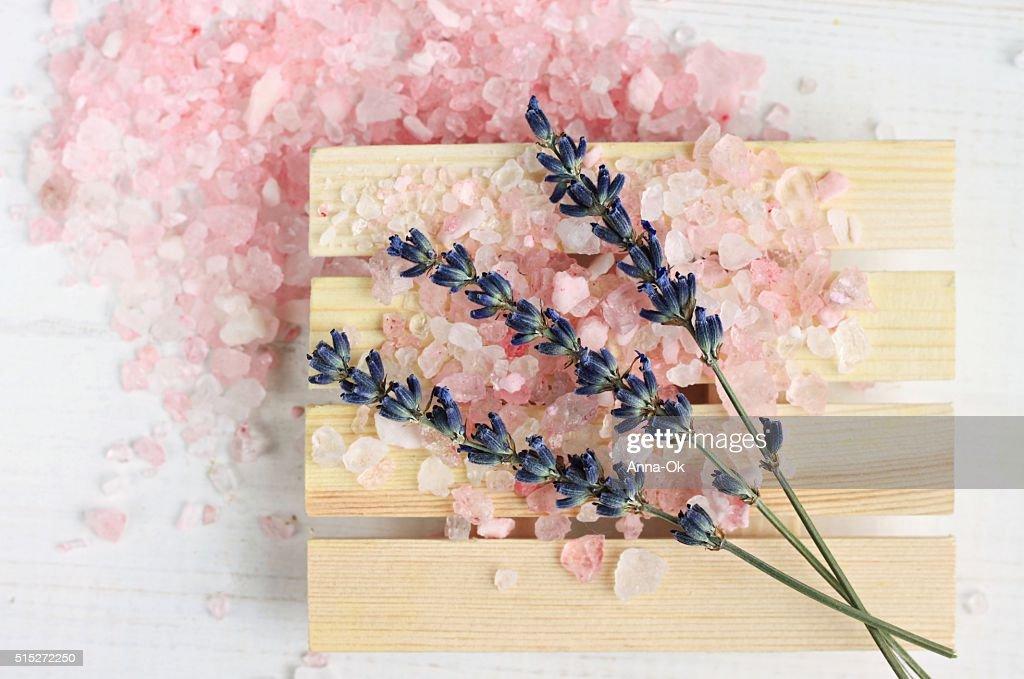 Lavender bath salt : Stock Photo
