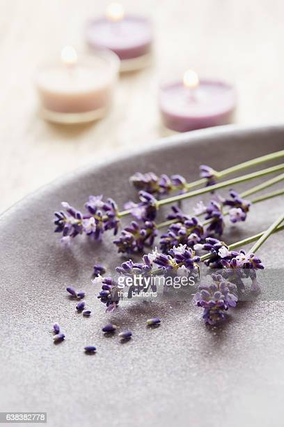 Lavender flowers and candles, aromatherapy