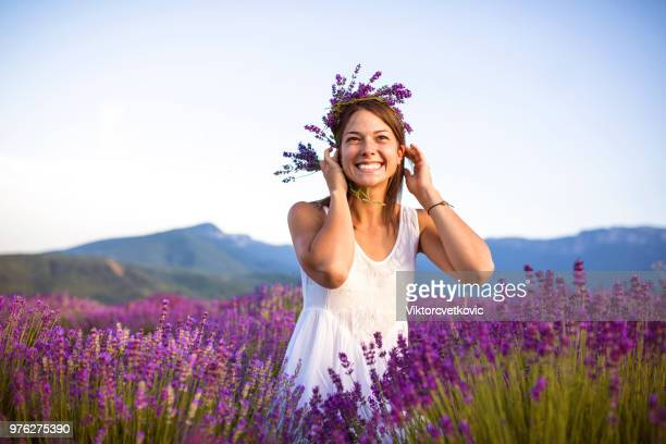 lavender happiness - purple hat stock pictures, royalty-free photos & images