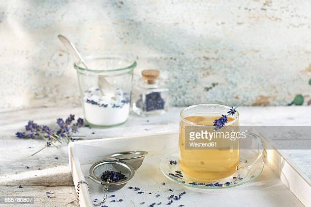 Lavender tea in glass cup