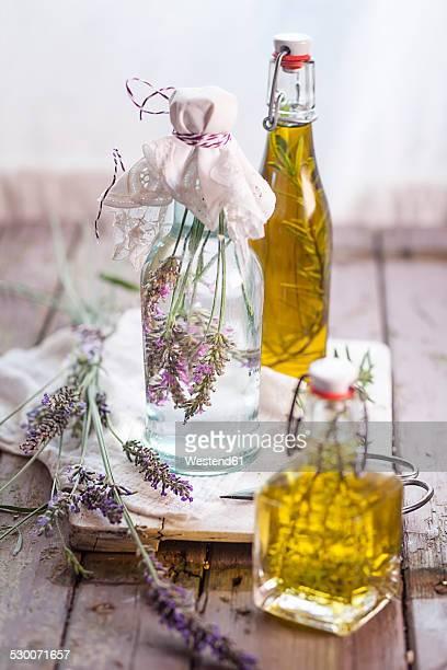 Lavender vinegar, rosemary oil and thyme oil
