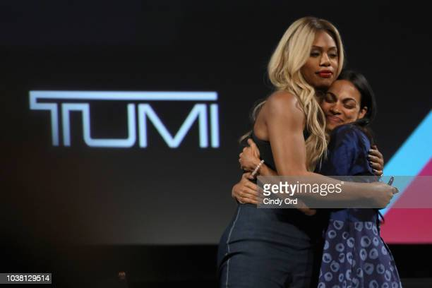Laverne Cox and Rosario Dawson speak onstage during Tribeca TV Festival's Tribeca Talks The Journey Inspired By TUMI with Rosario Dawson And Laverne...
