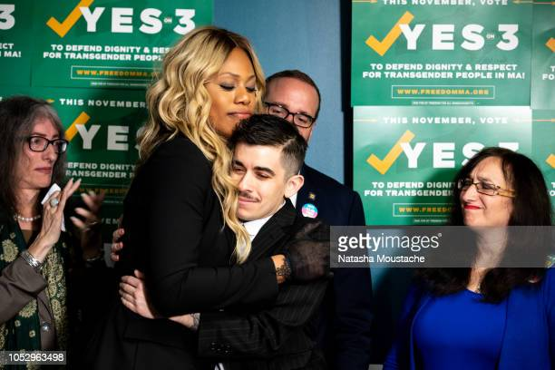Lavern Cox and Chase Strangio of the ACLU embrace at the Boston Alliance of LGBTQ Youth on October 24 2018 in Boston Massachusetts Yes on 3 is the...