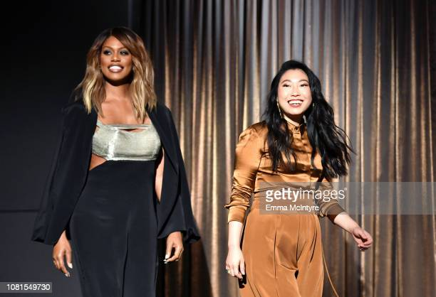 Laverne Cox and Awkwafina onstage during the 25th Annual Screen Actors Guild Awards Nominations Announcement at Pacific Design Center on December 12...