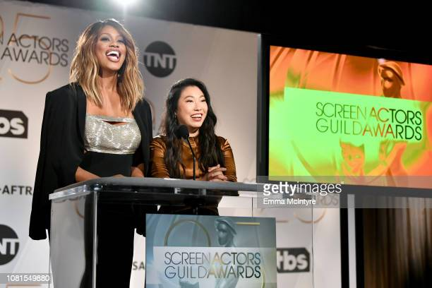Laverne Cox and Awkwafina speak onstage during the 25th Annual Screen Actors Guild Awards Nominations Announcement at Pacific Design Center on...