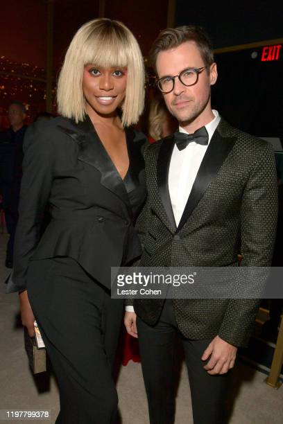 Laverne Cox and Brad Goreski attend The 2020 InStyle And Warner Bros. 77th Annual Golden Globe Awards Post-Party at The Beverly Hilton Hotel on...