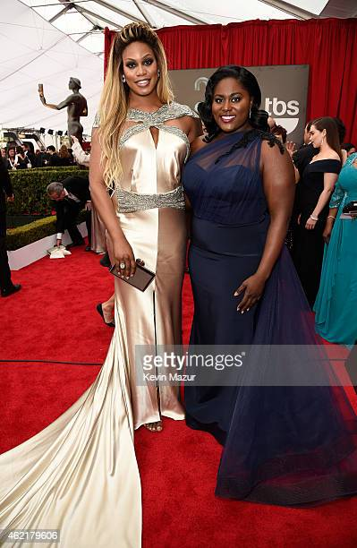 Laverne Cox and Danielle Brooks attend TNT's 21st Annual Screen Actors Guild Awards at The Shrine Auditorium on January 25 2015 in Los Angeles...