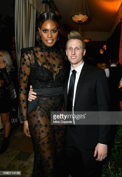 Laverne Cox and Kyle Draper attend Entertainment Weekly Celebrates Screen Actors Guild Award Nominees sponsored by L'Oreal Paris Cadillac And...