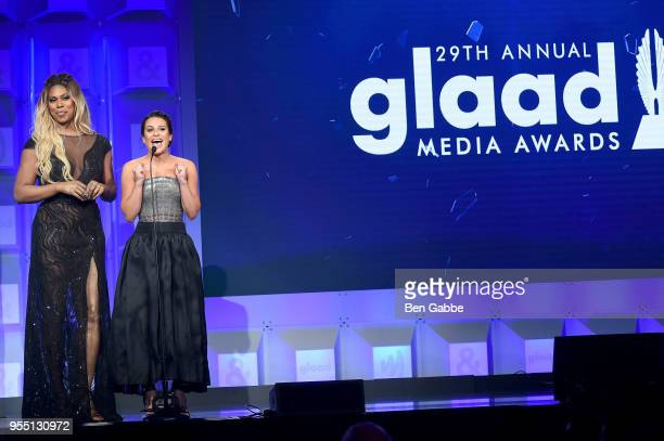 Laverne Cox and Lea Michele speak on stage at the 29th Annual GLAAD Media Awards in partnership with longstanding LGBTQ ally KetelOne FamilyMade...