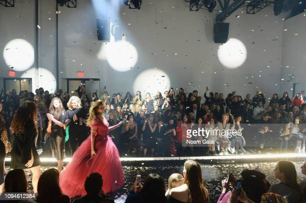 Laverne Cox and models captured at the 11 Honore front row during New York Fashion Week The Shows at Gallery I at Spring Studios on February 6 2019...