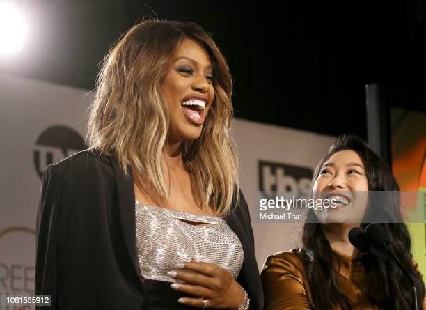 Laverne Cox and Nora Lum aka Awkwafina speak onstage during the 25th Annual Screen Actors Guild Awards nominations announcement held at Pacific...
