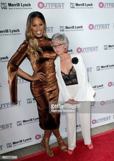 Laverne Cox and Rita Moreno at the 13th Annual Outfest Legacy Awards at Vibiana on October 22 2017 in Los Angeles California