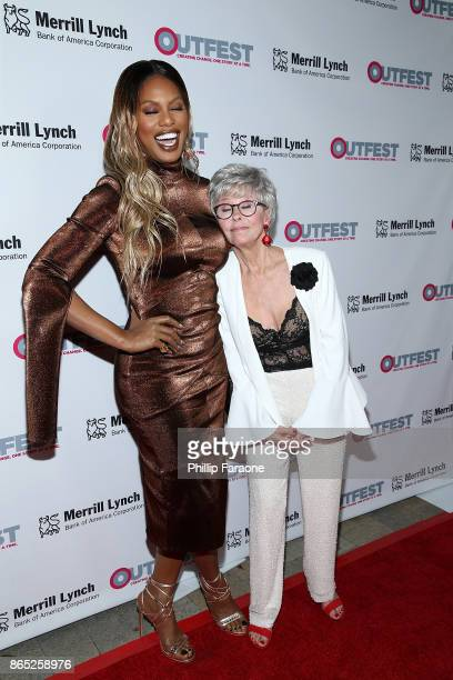 Laverne Cox and Rita Moreno attend the 13th Annual Outfest Legacy Awards at Vibiana on October 22 2017 in Los Angeles California