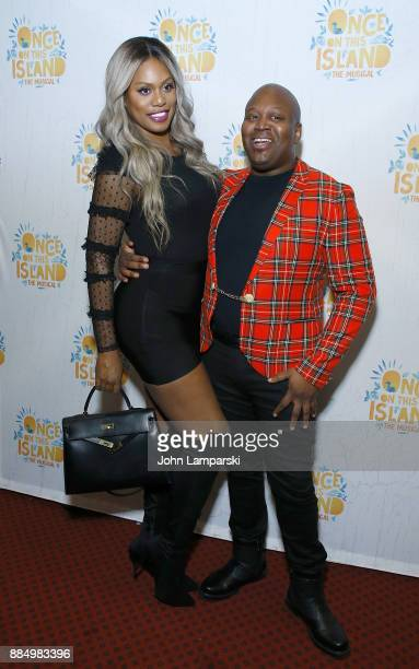 Laverne Cox and Tituss Burgess attneds 'Once On This Island' Broadway opening night at Circle in the Square Theatre on December 3 2017 in New York...