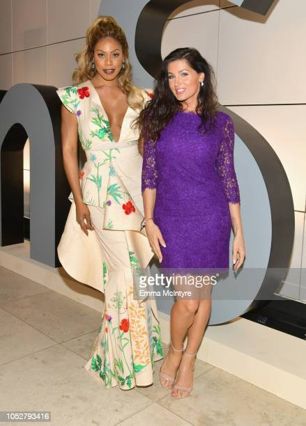 Laverne Cox and Trace Lysette attend the 2018 InStyle Awards at The Getty Center on October 22 2018 in Los Angeles California
