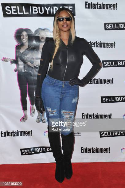 Laverne Cox arrives at opening night of 'Sell/Buy/Date' at the Los Angeles LGBT Center on October 14 2018 in Los Angeles California