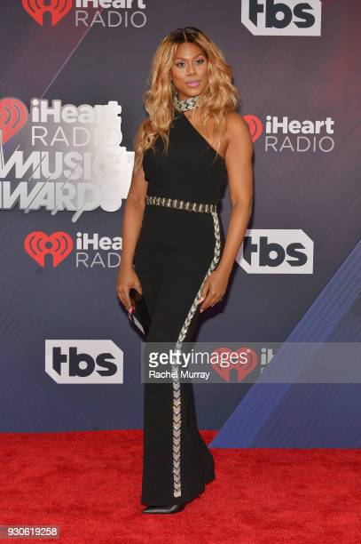 Laverne Cox arrives at the 2018 iHeartRadio Music Awards which broadcasted live on TBS TNT and truTV at The Forum on March 11 2018 in Inglewood...