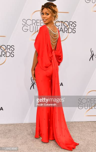 Laverne Cox arrives at the 25th Annual Screen Actors Guild Awards at the The Shrine Auditorium on January 27 2019 in Los Angeles California