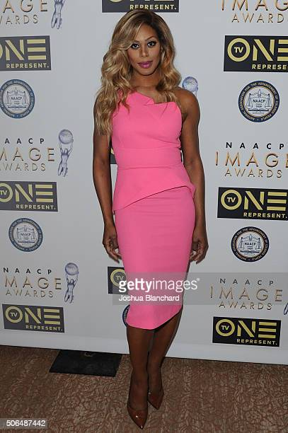 Laverne Cox arrives at the 47th NAACP Image Awards Nominees' Luncheon at The Beverly Hilton Hotel on January 23 2016 in Beverly Hills California