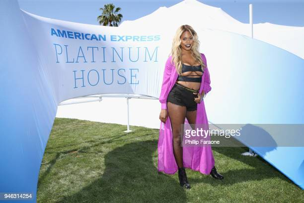 Laverne Cox at the American Express Platinum House at Parker Palm Springs on April 14 2018 in Palm Springs California