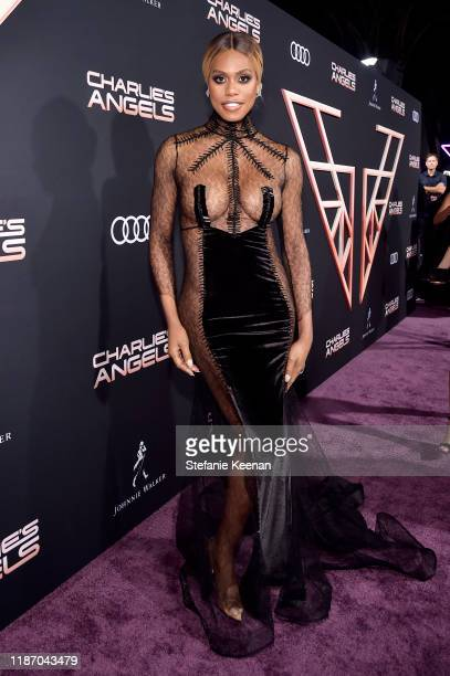 Laverne Cox attends Audi Arrivals At The World Premiere Of Charlie's Angels on November 11 2019 in Los Angeles California
