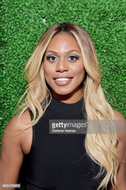 Laverne Cox attends KKWxMario Dinner at JeanGeorges Beverly Hills on March 31 2018 in Beverly Hills California