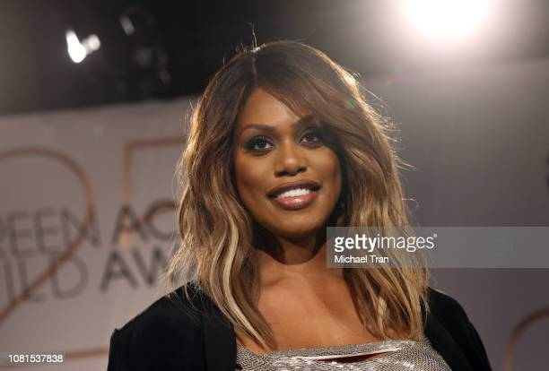 Laverne Cox attends onstage during the 25th Annual Screen Actors Guild Awards nominations announcement held at Pacific Design Center on December 12...