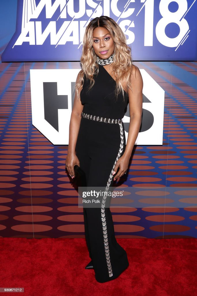 Laverne Cox attends the 2018 iHeartRadio Music Awards which broadcasted live on TBS, TNT, and truTV at The Forum on March 11, 2018 in Inglewood, California.
