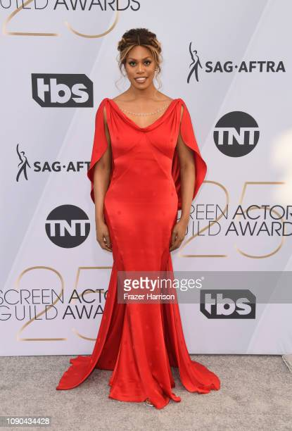 Laverne Cox attends the 25th Annual Screen Actors Guild Awards at The Shrine Auditorium on January 27 2019 in Los Angeles California