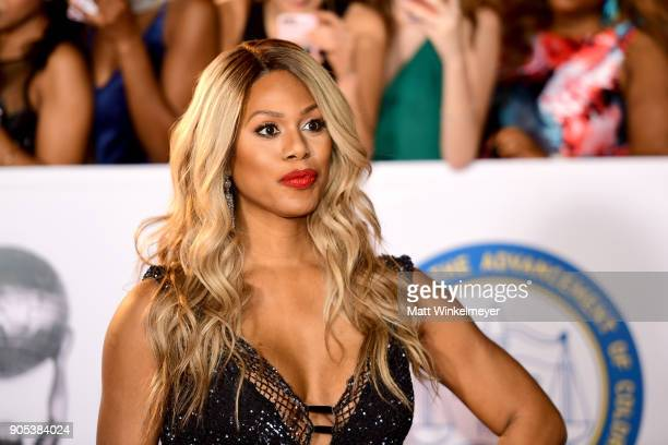 Laverne Cox attends the 49th NAACP Image Awards at Pasadena Civic Auditorium on January 15 2018 in Pasadena California