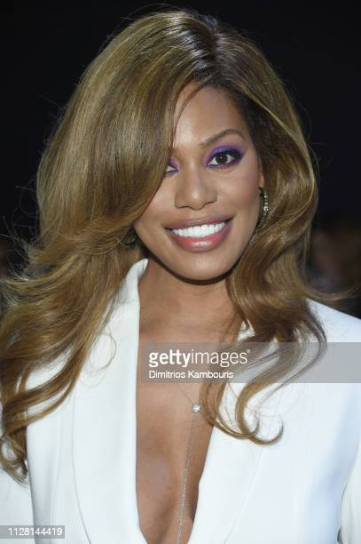 Laverne Cox attends the Elie Tahari Front Row during New York Fashion Week The Shows at Gallery II at Spring Studios on February 07 2019 in New York...