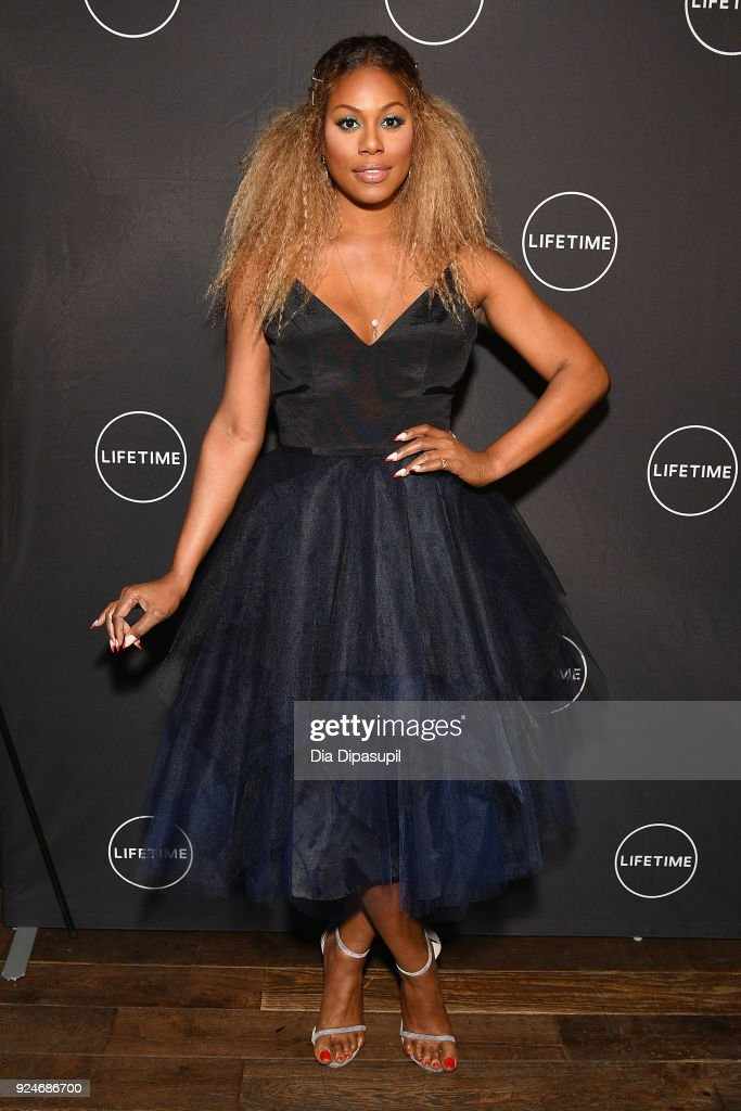 Laverne Cox attends the exclusive premiere event for Lifetime's new show 'Glam Masters' with the cast and executive producer at Dirty French In New York on February 26, 2018 in New York City.