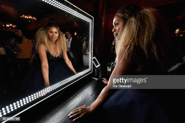 Laverne Cox attends the exclusive premiere event for Lifetime's new show 'Glam Masters' with the cast and executive producer at Dirty French on...