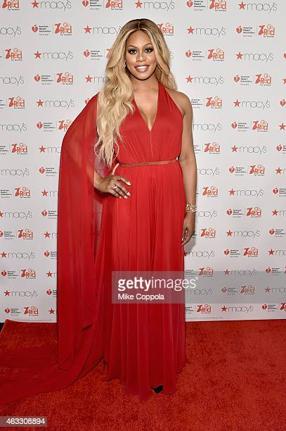 Laverne Cox attends the Go Red For Women Red Dress Collection 2015 presented by Macy'sfashion show during MercedesBenz Fashion Week Fall 2015 at...