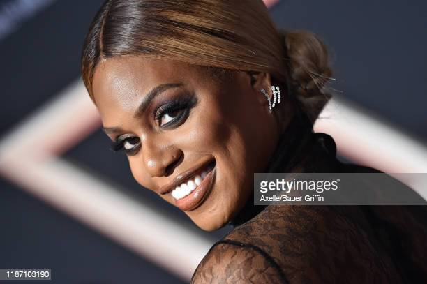 """Laverne Cox attends the Premiere of Columbia Pictures' """"Charlie's Angels"""" at Westwood Regency Theater on November 11, 2019 in Los Angeles, California."""