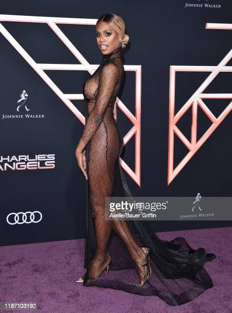 Laverne Cox attends the Premiere of Columbia Pictures' Charlie's Angels at Westwood Regency Theater on November 11 2019 in Los Angeles California