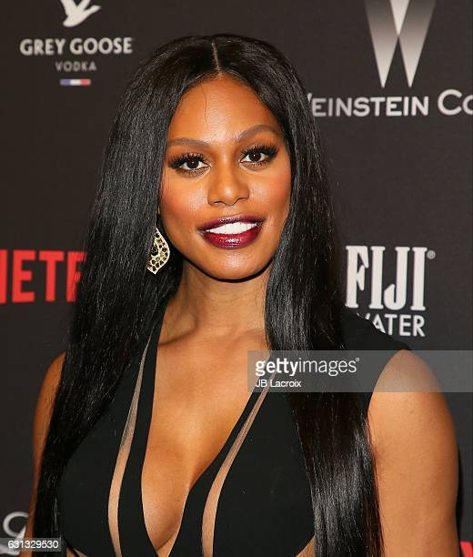Laverne Cox attends The Weinstein Company and Netflix Golden Globe Party presented with FIJI Water Grey Goose Vodka Lindt Chocolate and Moroccan Oil...
