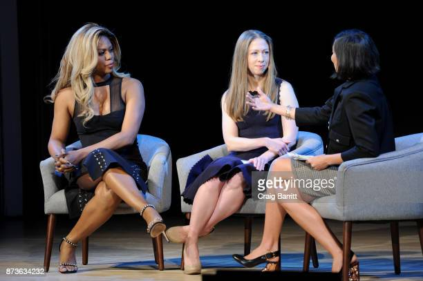 Laverne Cox Chelsea Clinton and Alex Wagner speak onstage during Glamour Celebrates 2017 Women Of The Year Live Summit at Brooklyn Museum on November...
