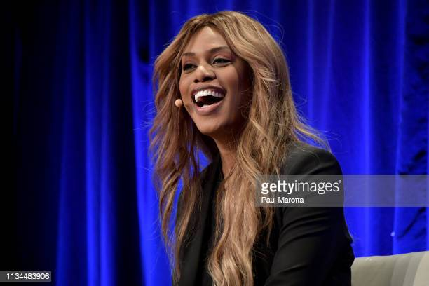 Laverne Cox delivers the morning keynote address at the 40th annual Simmons Leadership Cobnference at Seaport World Trade Center on April 2 2019 in...