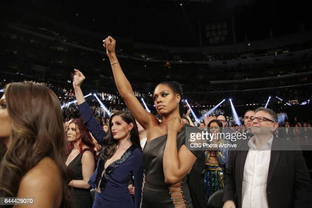 Laverne Cox during THE 59TH ANNUAL GRAMMY AWARDS broadcast live from the STAPLES Center in Los Angeles Sunday Feb 12 on the CBS Television Network