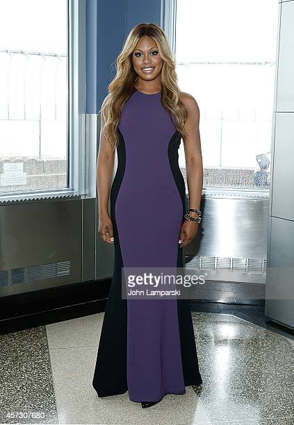 Laverne Cox from the 'T Word' on MTV attends Laverne Cox Lights The Empire State Building Purple Honoring National Bullying Prevention Month at The...
