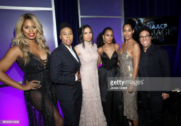 Laverne Cox Lena Waithe Jurnee SmollettBell Kerry Washington Tracee Ellis Ross and Angela Robinson attend the 49th NAACP Image Awards at Pasadena...