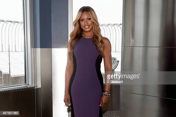 Laverne Cox lights The Empire State Building purple honoring Spirit Day and National Bullying Prevention Month at The Empire State Building on...