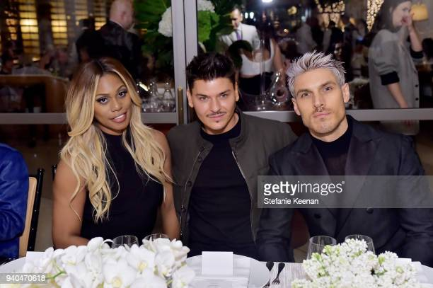 Laverne Cox Mario Dedivanovic and Chris Appleton attend KKWxMario Dinner at JeanGeorges Beverly Hills on March 31 2018 in Beverly Hills California