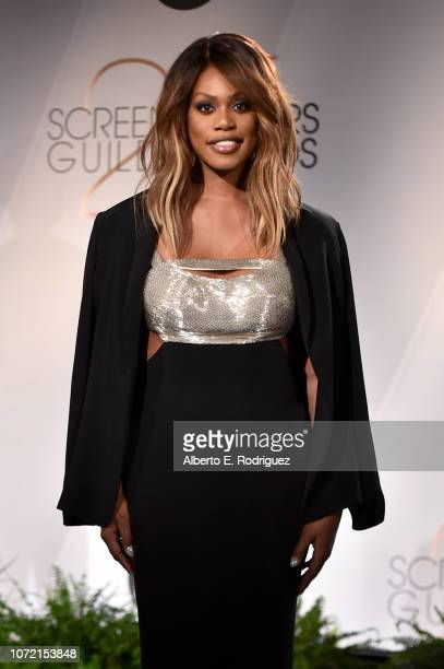 Laverne Cox poses onstage during the 25th Annual Screen Actors Guild Awards Nominations Announcement at Pacific Design Center on December 12 2018 in...