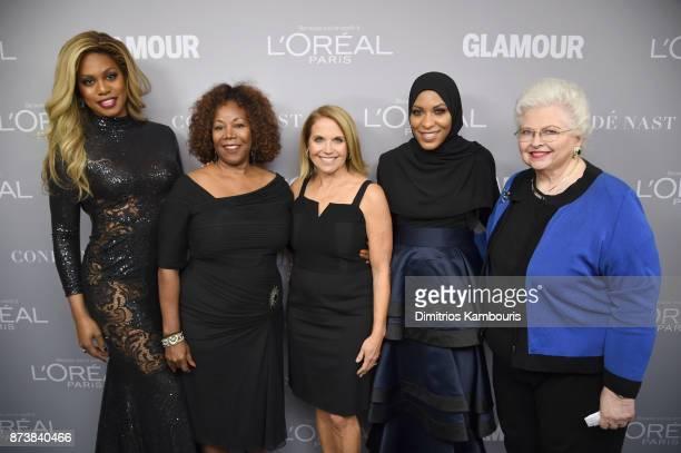 Laverne Cox Ruby Bridges Katie Couric Ibtihaj Muhammad and Sarah Weddington pose backstage at Glamour's 2017 Women of The Year Awards at Kings...