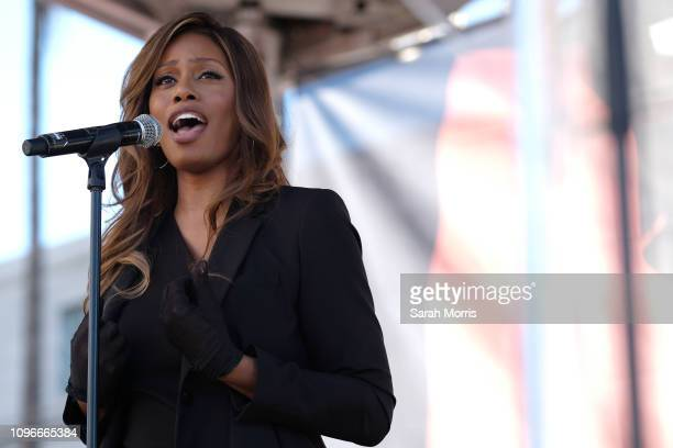 Laverne Cox speaks at the Women's March California 2019 on January 19 2019 in Los Angeles California Demonstrations are slated to take place in...