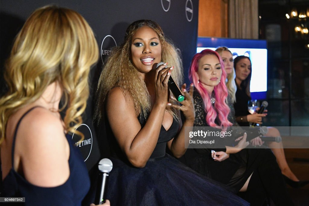 Laverne Cox speaks during a panel at the exclusive premiere event for Lifetime's new show 'Glam Masters' with the cast and executive producer at Dirty French on February 26, 2018 in New York City.