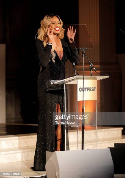 Laverne Cox speaks onstage at the 13th Annual Outfest Legacy Awards Vibiana on October 28 2018 in Los Angeles California